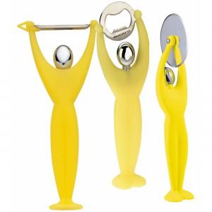 Gym 3 részes készlet (hámozó, pizzavágó, sörbontó) sárga