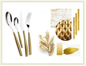 Casa Bugatti - Glamour evőeszköz készlet 24 részes arany