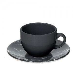 Tognana - Sfera Ikat 2db kávéscsésze + alátét fekete